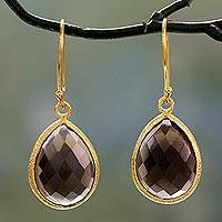 Vermeil smokey quartz dangle earrings, 'Nature's Brilliance'
