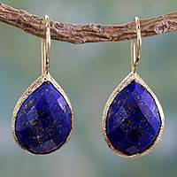 Vermeil lapis lazuli dangle earrings, 'Nature's Brilliance' - Lapis Lazuli and Vermeil Earrings