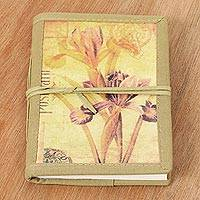 Handmade paper journal, 'Iris Voyage' - Vintage Look Journal of Handmade Paper with Cotton Trim