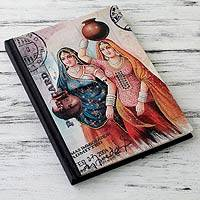 Handmade paper journal, 'Rajasthani Muses' (large) - 50-page Handmade Paper Hard Cover Journal