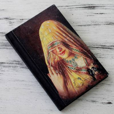 Handmade paper journal, 'Ghoonghat Muse' - Handmade Paper Journal with 50 Pages