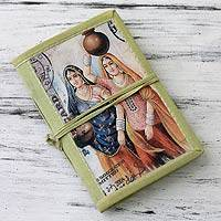 Handmade paper journal, 'Rajasthani Muses' (medium) - Handmade Paper Journal with 48 Pages