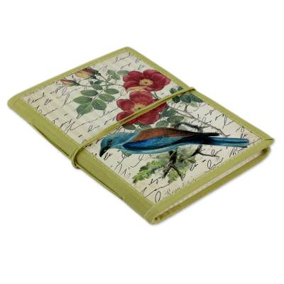 Handmade paper journal, 'Kingfisher Memoirs' - Handmade Paper Journal with 48 Pages