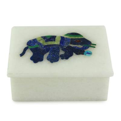 Marble inlay jewelry box, 'Dancing Blue Elephant' - Blue Elephant Marble Inlay Jewelry Box