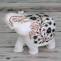 Marble inlay sculpture, 'Elephant Fortunes' - Hand Crafted Marble Inlay Elephant Sculpture