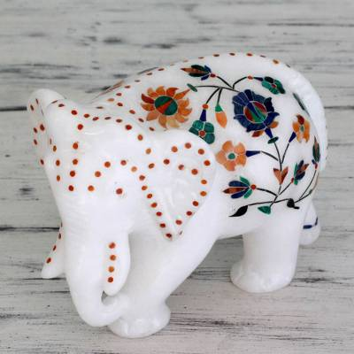 Marble inlay sculpture, 'Elephant Wanders' - Handcrafted Marble Inlay Elephant Sculpture