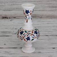 Marble inlay vase, 'Agra Morning Glory' - Unique Stone Inlay Marble Vase