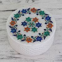 Marble inlay jewelry box, 'Garland of Dreams' - Floral Marble Inlay Jewelry Box