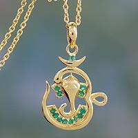 Vermeil emerald pendant necklace, 'Om Ganesha' - Emerald and Gold Vermeil Necklace