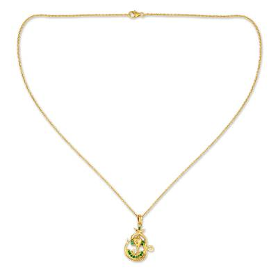 Emerald and Gold Vermeil Necklace