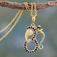 Vermeil sapphire pendant necklace, 'Ganesha's Om' - Sapphire and Gold Vermeil Necklace