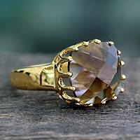 Vermeil smoky quartz single stone ring, 'Spell of Endurance' - Faceted 4 Ct Smoky Quartz and Vermeil Ring from India