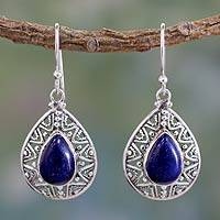 Lapis lazuli dangle earrings, 'Timeless Ganges' - Fair Trade Lapis Lazuli Handcrafted Earrings