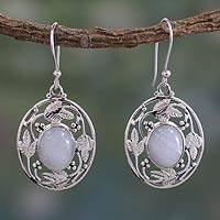 Rainbow moonstone dangle earrings, 'Moonlit Avatar' - Handcrafted Rainbow Moonstone and Sterling Silver Earrings