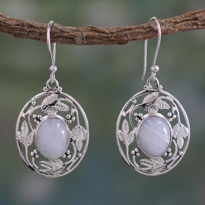 Rainbow moonstone dangle earrings, 'Moonlit Avatar' - Handcrafted Rainbow Moonstone and Sterling Silver Earrings