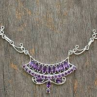 Amethyst Y-necklace, 'Jaipur Grandeur' - Sterling Silver Necklace with Amethyst Pendant
