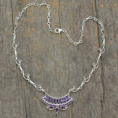 Amethyst Y-necklace, 'Jaipur Grandeur' - Sterling Silver Necklace with Amethyst Pendant