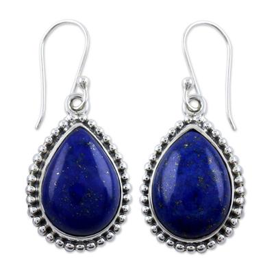 Lapis lazuli dangle earrings, 'Inspiration' - Lapis Lazuli and Sterling Silver Earrings