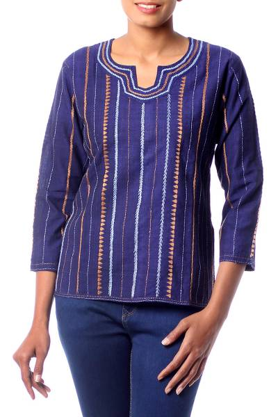 Cotton tunic, 'Sky Paths' - Hand Embroidered Blue Handwoven Cotton Blouse