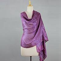 Silk shawl, 'Lilac Grey' - 100% Natural Silk Shawl Reversible Wrap