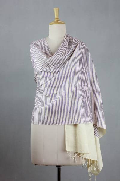 Silk shawl, 'Lavander Parallels' - Hand-loomed Silk Shawl Wrap from India