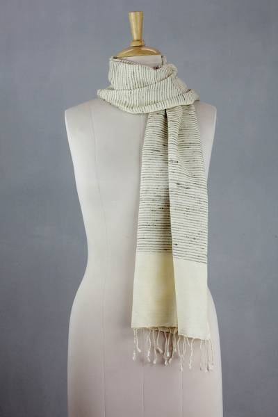 Silk shawl, 'Brown Parallels' - Hand-loomed Silk Scarf in Natural Colors