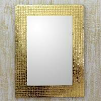 Glass mosaic wall mirror, 'Golden Mosaic' - India Glass Mosaic Wall Mirror