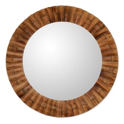 Mirror, 'Bamboo Halo' - Handcrafted Bamboo Mosaic Wall Mirror