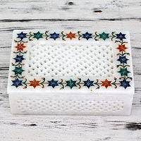 Marble inlay jewelry box, 'Jasmine Petals' - Jasmine Motif Marble Inlay Jewelry Box from India
