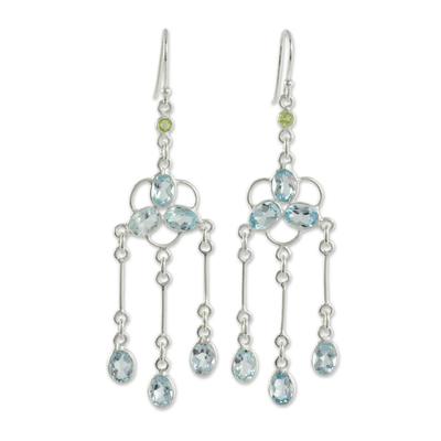 Blue Topaz and Peridot Silver Chandelier Earrings