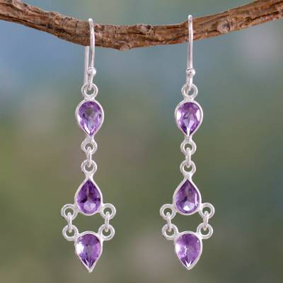 Amethyst dangle earrings, 'Mystic Wonder' - Amethyst and Sterling Silver Indian Earrings