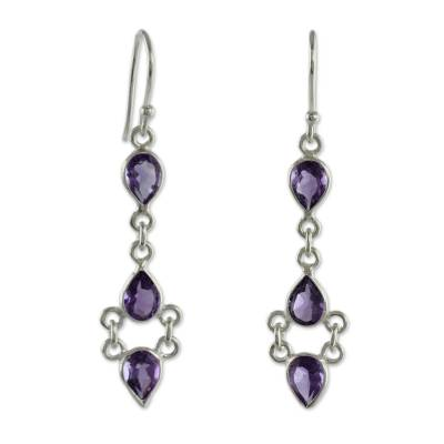 Amethyst and Sterling Silver Indian Earrings