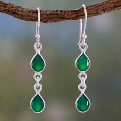 Green onyx dangle earrings, 'Mystical Femme' - Fair Trade Sterling Silver and Green Onyx Earrings