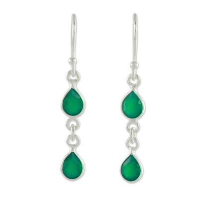 Fair Trade Sterling Silver and Green Onyx Earrings