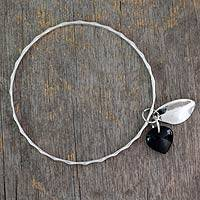 Onyx bangle bracelet, 'Glistening Dew' - Fair Trade Jewelry Sterling Silver Bracelet with Onyx