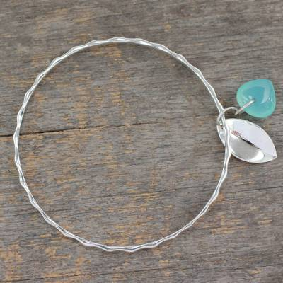 Chalcedony bangle bracelet, 'Glistening Dew' - Fair Trade jewellery Sterling Silver Bracelet with Chalcedon