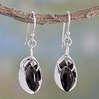 Onyx hook earrings, 'Glistening Dew' - Fair Trade Jewelry Sterling Silver Earrings with Onyx