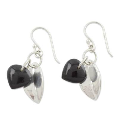 Fair Trade Jewelry Sterling Silver Earrings with Onyx