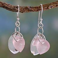 Rose quartz dangle earrings, 'Glistening Dew' - Fair Trade Jewelry Sterling Silver Earrings with Rose Quartz