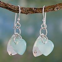 Chalcedony dangle earrings, 'Glistening Dew' - Fair Trade Jewelry Sterling Silver Earrings with Chalcedony
