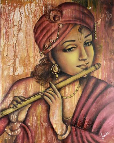 Young Krishna Portrait Hinduism Theme from India - Flute ...