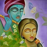 'Radha Krishna I' - Hindu Love Deities Signed Hinduism Painting