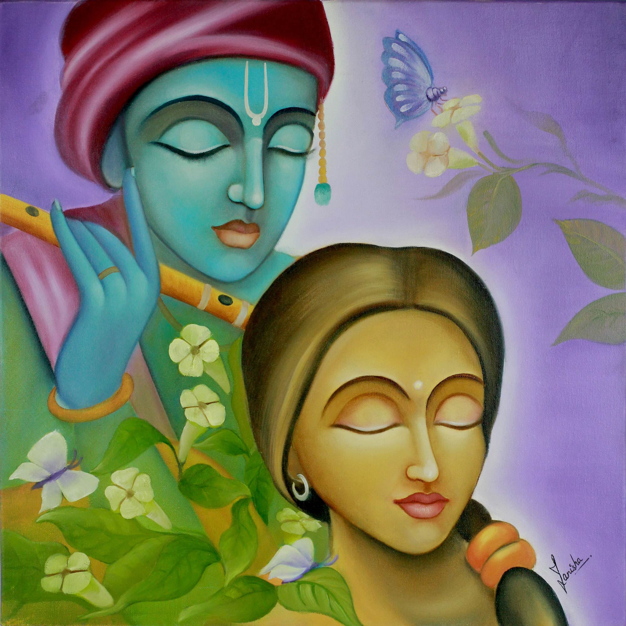 Hindu Love Deities Signed Hinduism Painting, 'Radha Krishna I'