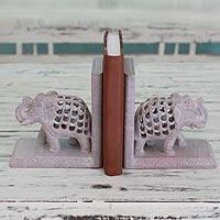 Soapstone bookends, 'Elephant Mom' (pair) - Hand Carved Indian Jali Soapstone Bookends