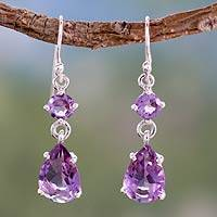 Amethyst dangle earrings, 'Classic Elegance'