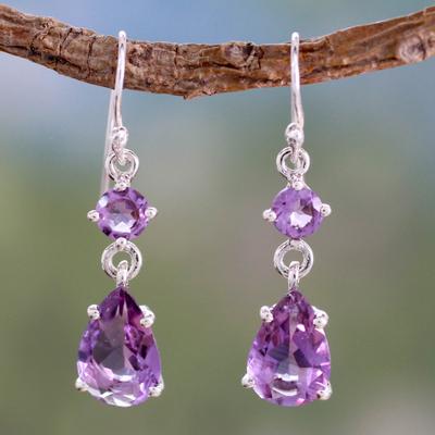 Amethyst dangle earrings, 'Classic Elegance' - Amethyst Dangle Earings