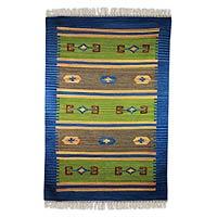 Wool dhurrie rug, 'Love of Nature' (4x6)