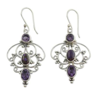 Artisan Crafted Amethyst Earrings with Composite Turquoise