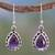 Amethyst dangle earrings, 'Kiss Me' - Fair Trade Amethyst Earings thumbail