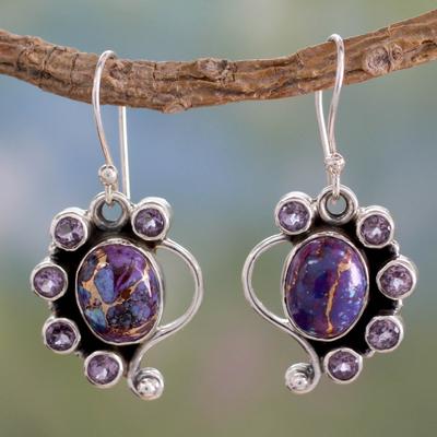 Amethyst dangle earrings, 'Purple Peacock' - Amethyst Earrings with Purple Compositie Turquoise